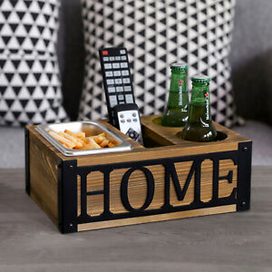 Rustic Burnt Wood Sofa Snack Caddy Couch Organizer with Slots for Drinks, Remote