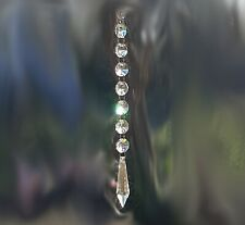 """Crystal Prism with Jewel Chain Set Lot of 8 Christmas Suncatcher Feng Shui 8"""""""