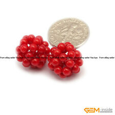 12mm Round Coral Gemstone Ball Beads For Jewelry Making 2 Pcs Assorted Colors