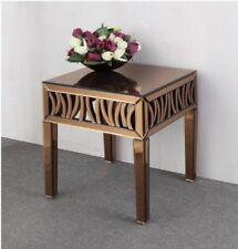 New Gorgeous Bronze Gold Mirrored Side End Table Bedside Home Decor Furnishings
