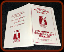 1988-89 TEMPLE UNIVERSITY OWLS WINTER SPORTS POCKET SCHEDULE NMMT CONDITION