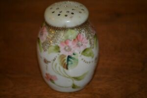 Antique Porcelain Single Salt or Pepper Shaker HP Pink Flowers with Heavy Gold