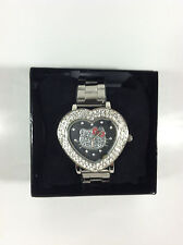 Collectible White Rhinestone Heart Shape Hello Kitty Wristwatch Design by Sanrio