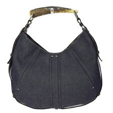 Authentic YVES SAINT LAURENT Monbasa Hand Bag Denim Leather Gray Brown 04K880
