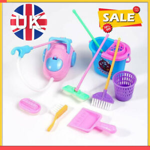 9Pc/Set  Kids Play House Cleaning Mop Broom Bucket Brush Dustpan Pretend Toy