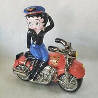 Large Betty Boop Collectible Biker Clay Art Ceramic Cookie Jar Motorcycle NICE