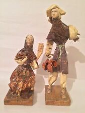 Vtg Mexican Folk Art Paper Mache Ceremony Dolls Sculpture Figurine Wood Base 13""