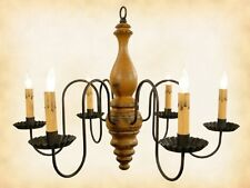 """""""Anderson"""" WOOD CHANDELIER - MUSTARD & BLACK 6 Candle Country Light USA Handmade"""