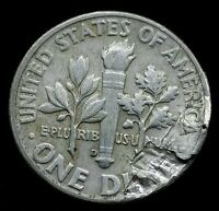 1962 D Dime SILVER 10 Cent LARGE LAMINATION ERROR Nice Coin RARE DATE E137