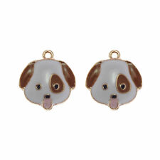 5 pcs Enamel Plated Metal Dog Head Charms Necklaces Pendants Jewelry Accessories