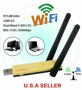NEW 150/300/600/1200 Mbps  2.4/5Ghz USB WiFi Network Adapter Antenna 802.11 LOT