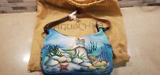 "Anuschka Painted Leather medium Hobo with Side Pockets ""Little Mermaid"""