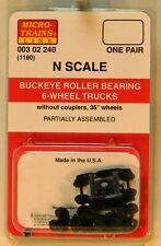 NEW Micro-Trains 00302240 Buckeye Roller Bearing 6 Wheel Trucks 1 Pr