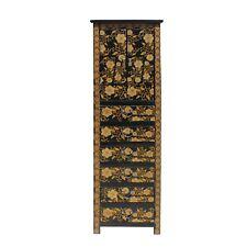 Chinese Black Golden Flower Graphic Tall Slim Multi Drawers Cabinet cs5791