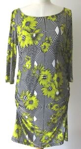 CHARLIE BROWN DRESS, Lime, Black & White Geometric & Floral Design, Size 10