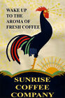 Rooster Wake Up Aroma Fresh Coffee Cafe Sunrise Vintage Art Wall - POSTER 24x36