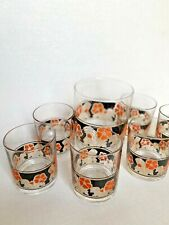 New ListingKitchen Barware 7 Pc Glass Set with Bucket Clear Floral Orange Black Vintage