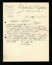 LETTERE COMMERCIALI F. ANDREOLI & L. CAPITAIN  PARIGI 1908
