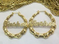 14K Gold Overlay Personalized Name Bamboo Earrings 2 inches