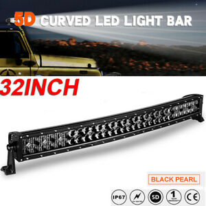 Dual Row 32inch 300W Curved 5D LED Light Bar Spot Flood Combo Truck Offroad 34""