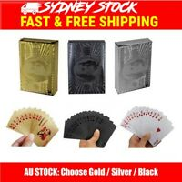 Waterproof Black Gold Silver Poker Playing Cards Foil Plated 54PCS Table Game
