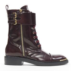 LOUIS VUITTON Like A Man burgundy leather gold buckle ranger combat boot EU37