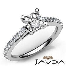 Asscher Diamond Double Prong Set Engagement Ring GIA G VS2 18k White Gold 0.8Ct