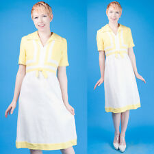 Rodgers/Silverman Vtg 60s Yellow+White Linen Color Block Mod Dress M/L