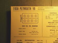 1958 Plymouth Golden Commando Package 350 CI V8 SUN Tune Up Chart Great Shape!
