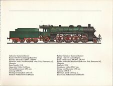 VINTAGE RAILWAY GERMAN TRAIN ENGINES PRINT ~ EXPRESS ENGINE STAATSEISENBAHNEN