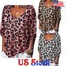 Women's Leopard Print Loose Medium Sleeve T-shirt Lady V Neck Casual Blouse Tops