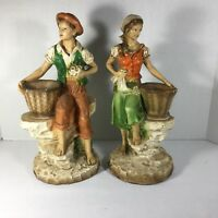 Universal Statuary Corp. Figurines Pair 1975 Chicago, IL #823 #821 Antique *