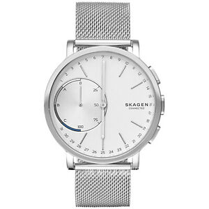 Skagen Connected Mens Hybrid Watch Smartwatch Stainless Steel Mesh Band Silver