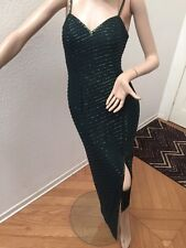 Cache Dark Green Fully Beaded Sparkly Long Slit Silk Formal Dress Size Small S