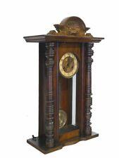Wanduhr Uhr Zeitmesser Antik Historismus um 1900 aus Nussbaum (9173)