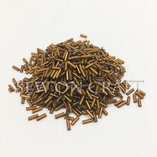 50g 1400pcs Copper Brown Glass Straight Tube Bugle Beads Sew On Craft Handmade