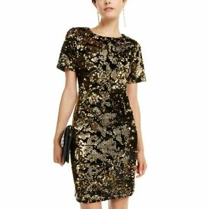 INC NEW Women's Gold/black Sequined Velvet Cocktail Sheath Dress S TEDO