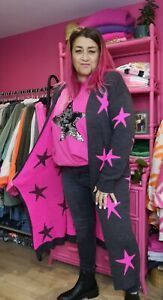GREY/PINK STAR LONGLINE CARDI Open Front Long Sleeves Onesize 10-18 Made in UK
