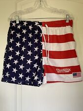 New listing Nathan's famous hot dogs american flag swim trunks.