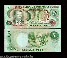 PHILIPPINES 5 PISO P-160 c 1978 BONIFACIO UNC WORLD MONEY BILL ASEAN BANK NOTE