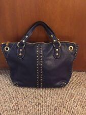 Michael Kors Uptown Astor Gold Studded Leather Wide Satchel Tote $398 EUC