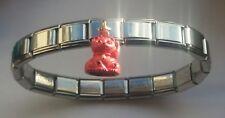Japanese LUCKY CAT Good Health Italian Charm Starter Bracelet + Gift Pouch