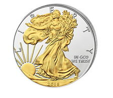 American Silber Silver Eagle 2016 1 oz mit Teilvergoldung 999 Silbermünze Bullio