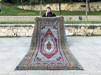 Unique Color Vintage RUG Turkish Antique Lowpile Wool Oushak Tribal Runner RUG