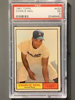 1961 Topps #423 Charlie Neal SP PSA 5 EX Los Angeles Dodgers