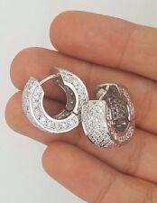 4.25 Ct. ESTATE 14K WHITE GOLD DIAMOND INSIDE OUTSIDE ROUND SMALL HOOP EARRINGS