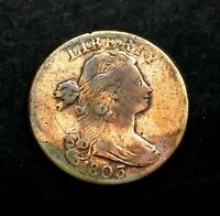 1803 Stunning Draped Bust Large Cent, Small Date, Small Fraction US Copper Coin.