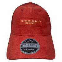 New Era HOUSTON ROCKETS 9Twenty 920 Black Label Strapback Hat Cap Red Suede