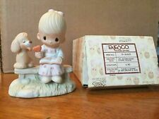 Precious Moments Figurine, E-3110/G, Loving Is Sharing Girl on Bench w Dog 1979