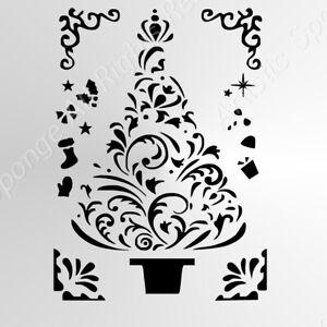 Christmas Tree Decorations Cards DIY Decor Size A5 A4 A3 Reusable Stencil  Snow7